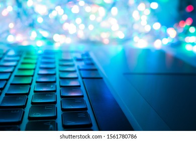 Computer keyboard close-up with multi-colored backlight