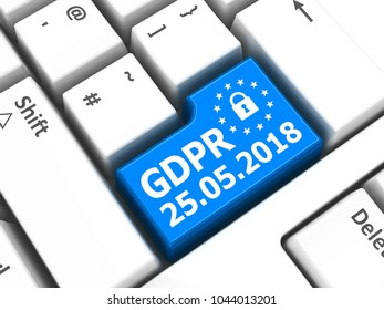 Computer keyboard with GDPR key - General Data Protection Regulation, three-dimensional rendering, 3D illustration