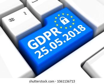 Computer keyboard with GDPR key - General Data Protection Regulation, , 3D illustration