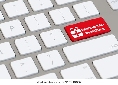 """Computer keyboard with the German word """"Weihnachtsbestellung"""" (christmas order) (3D Rendering)"""