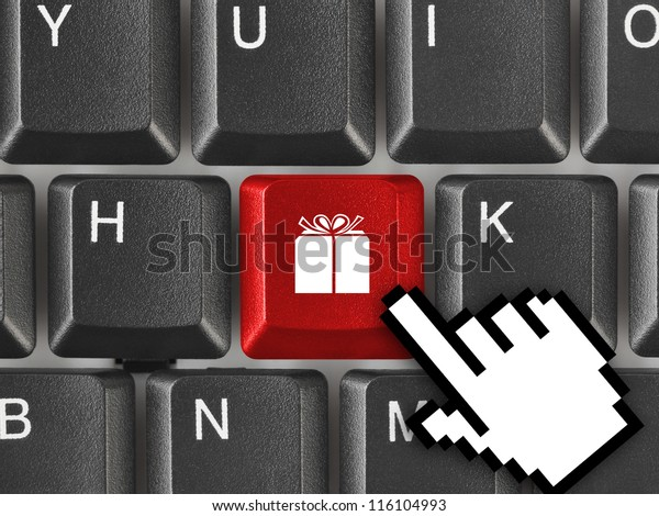 Computer keyboard with gift key - business background