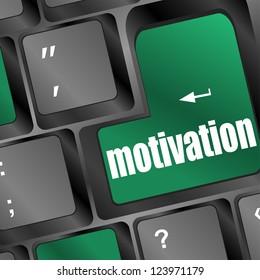 Computer keyboard - green key motivation, business concept, raster
