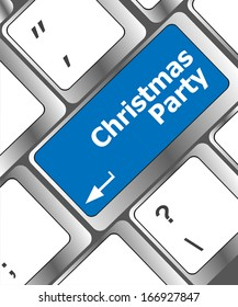 Computer keyboard key with christmas party words