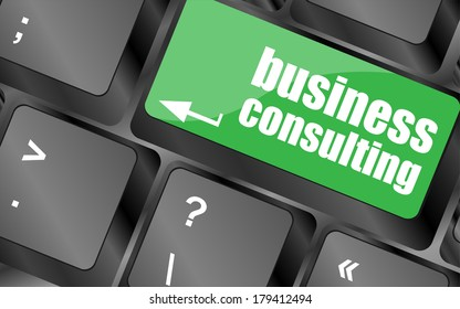 Computer keyboard keys with business consulting key. business concept