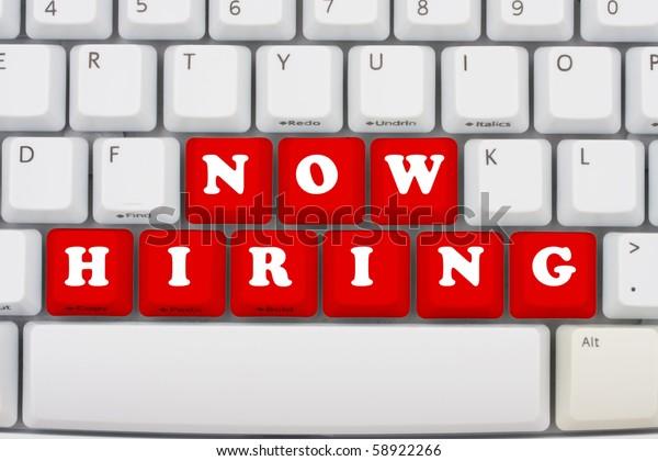 Computer keyboard keys displaying now hiring, Now hiring