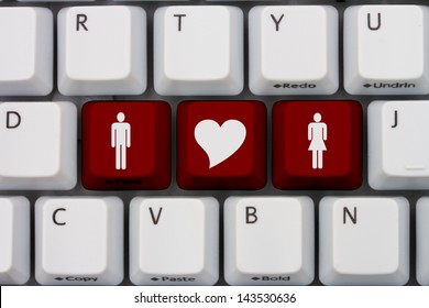 Computer keyboard keys with symbols of man and woman and a heart, Internet Dating