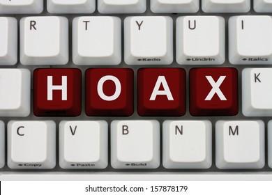 Computer keyboard keys with word Hoax, Internet Hoax