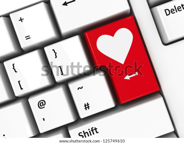 Computer keyboard with love key, Valentine's Day