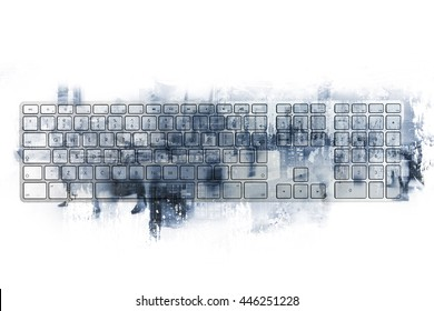 computer keyboard and modern city in the double exposure