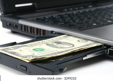 The computer keyboard with money