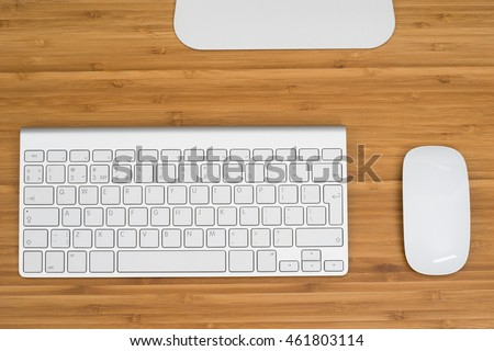 Computer keyboard and mouse on the desk
