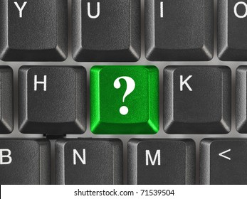Computer keyboard with question key - business concept