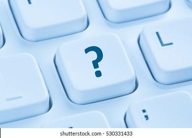 Computer keyboard question mark help blue symbol ask