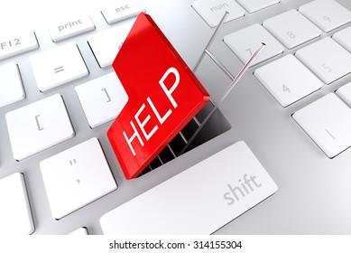 computer keyboard with red enter key hatch ladder underpass help