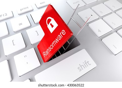 computer keyboard with red enter key hatch underpass ladder ransomware 3D illustration