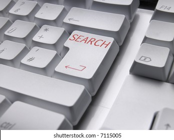 Computer keyboard with SEARCH enter key.