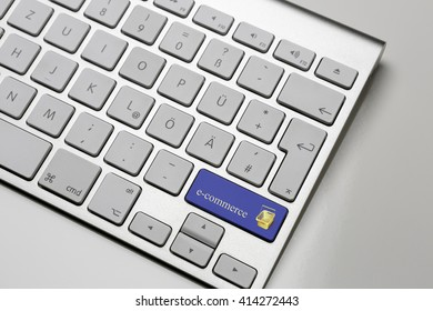 Computer Keyboard - shift button with e-commerce button - blue