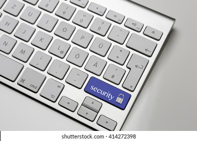 Computer Keyboard - shift button with security lock - blue