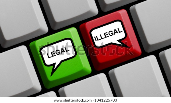 Computer Keyboard with speech bubble symbols on red and green key showing Legal or Illegal