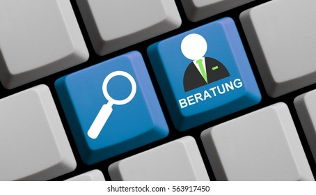 Computer Keyboard with symbols is showing search for Consulting online in german language