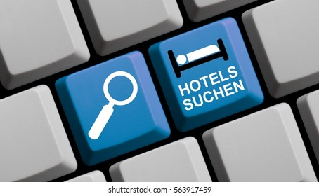 Computer Keyboard with symbols is showing search Hotels in german language online