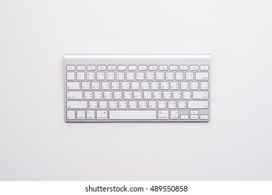 Computer keyboard. top view on white background
