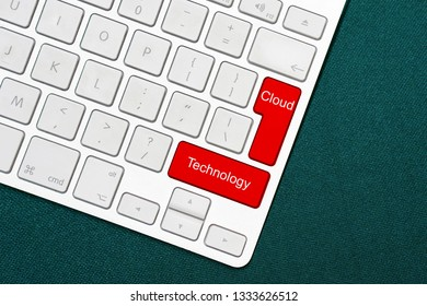 Computer keyboard with word Cloud Technology. Business concept for Save and access data and programs over the Internet Keyboard key Intention to create computer message pressing keypad idea.