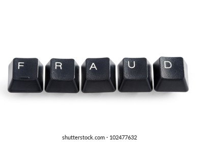 computer keys spelling the word fraud on white