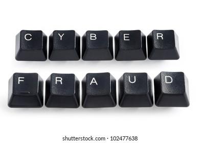 computer keys spelling the words cyber fraud