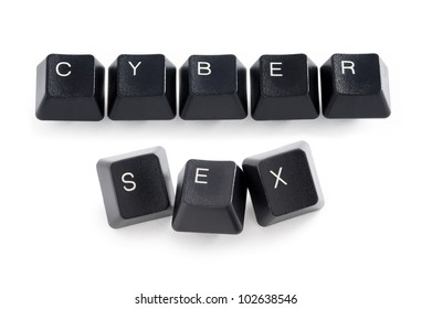 computer keys spelling the words cyber sex
