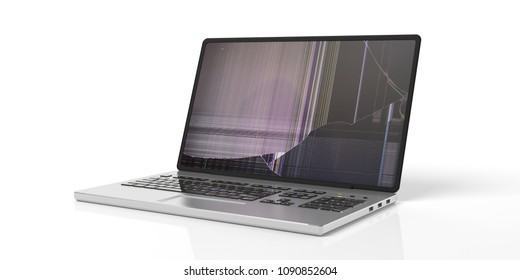 Computer laptop with broken screen isolated on white background. 3d illustration