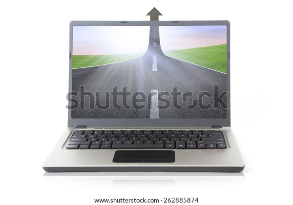 Computer laptop with display road to success isolated on white background