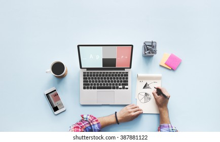 Computer Laptop Drawing Working Desk Concept