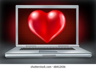 Computer laptop Healthcare And Medicine Doctor nurse symbol heart
