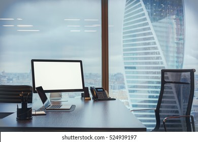 Computer and laptop in the modern office
