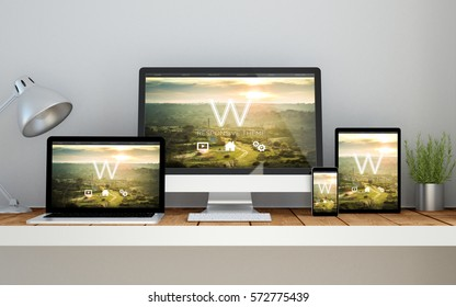 A computer, laptop, smartphone and tablet on a desktop workspace with responsive website on screen. 3d rendering. All screen graphics are made up.