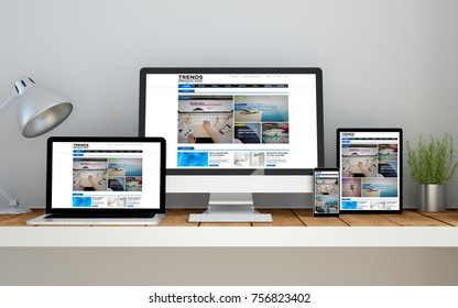 A computer, laptop, smartphone and tablet on a desktop workspace with magazine online responsive website on screen. 3d rendering. All screen graphics are made up.