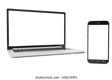 Computer, Laptop or Tablet, Smartphone, Display Isolated on White Background, Workspace Mock up for your Design Illustration, 3D Rendering