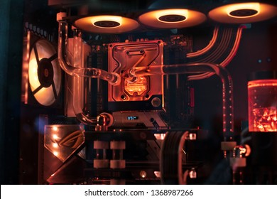 Computer with LED light inside and water cooling system of CPU and graphics card