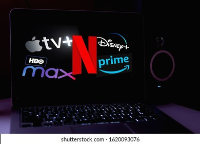Computer with logo: Netflix , HBO MAX, APPLE TV PLUS, NETFLIX, PRIME VIDEO are online video streaming services. United States, New York, Monday, November 4, 2020