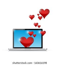 computer love connection. internet communication concept. illustration design over white