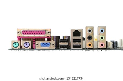 Computer mainboard back panel connector isolated on white background