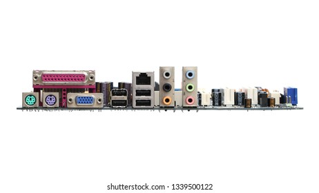 Computer mainboard rear view isolated on white background
