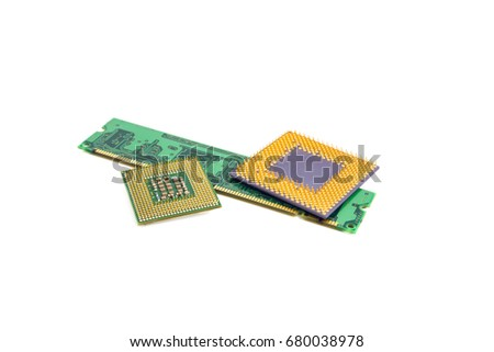 Computer Memory Chip With Two Processors Isolated On White Background