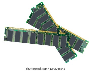 Computer memory modules on the white background