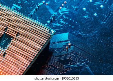Computer microchip, electronic microcircuit. Computer security, technology neural networks
