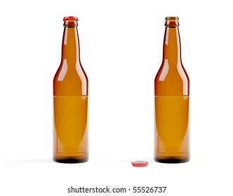Computer models of beer bottles on white background