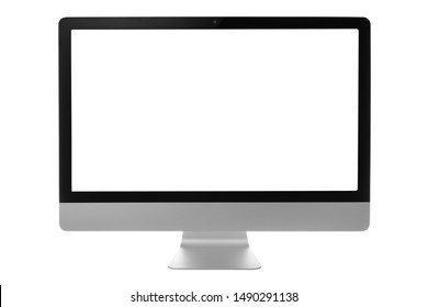 Computer monitor with black screen isolated on white background with clipping path.