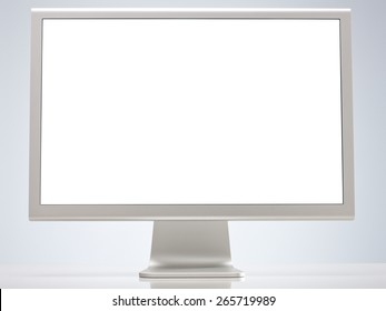 Computer Monitor with Blank Screen Isolated on White Background. Front View with Real Shadow