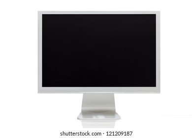 computer monitor with blank (white) screen. Isolated on white background.